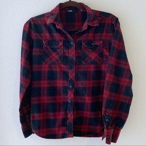 Black & Red plaid flannel button down shirt